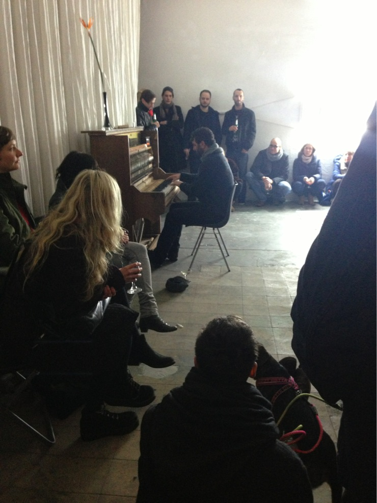 "performing on the Bass Piano at the exhibition ""Speculative Brutalism"" at Flutgraben Studios in Kreuzberg, Berlin"